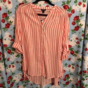 Pink & White Button Down Striped Lace Up Tunic